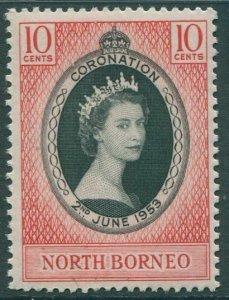 Malaysia North Borneo 1953 SG371 10c black and red Coronation QEII MNH