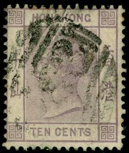 HONG KONG SG36, 10c Dull Mauve, USED. Cat £23.