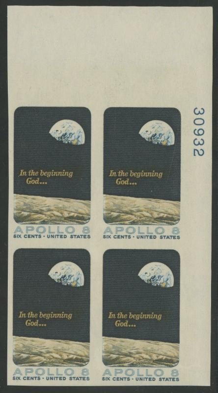 #1371 PW VAR 6c APOLLO 8 1969 RARE IMPERF PLATE BLOCK -- UNIQUE -- BU5824 JN