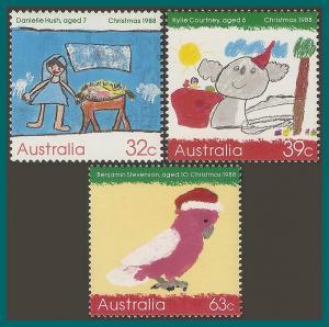 Australia 1988 Christmas, MNH  #1102-1104,SG1165-SG1167
