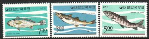 1966 Korea Fish complete set MNH Sc# 496 / 498 CV $11.00