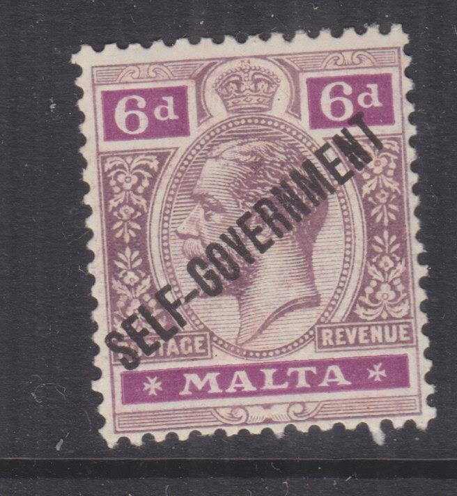 MALTA, 1922 Self Government, KGV, Crown CA, 6d. Dull & Bright Purple, lhm.