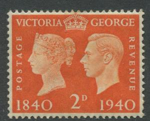 Great Britain - Scott 255 -KGVI Definitive -1940 - MH - Single 2p- Stamp