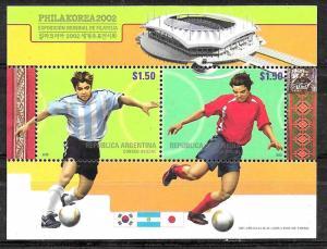 ARGENTINA,2002 FOOTBALL SOCCER WORLD CUP KOREA 2002 S/SHEET YV BL 79 MNH