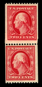 MOMEN: US STAMPS #386 COIL PAIR MINT OG NH PSE CERT