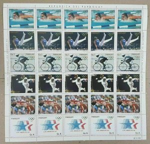 EC162 1984 PARAGUAY OLYMPIC GAMES LA 84 !! MICHEL 19 EURO BIG SH FOLDED IN 2 MNH