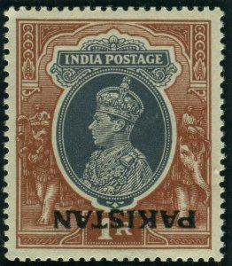 PAKISTAN-1947 1r Grey & Red Brown INVERTED OVERPRINT.  An unmounted mint example