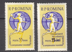 J27579 1962 romania set of 1 + ovpt mh #1500,1501 sports