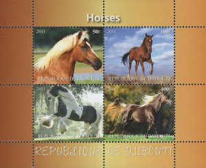 Horses Running Field Landscape Souvenir Sheet of 4 Stamps Mint NH