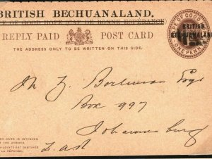 BECHUANALAND COGH Stationery Overprints Intact QV REPLY CARD Johannesburg O150