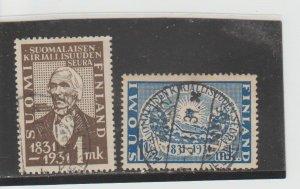Finland  Scott#  180-181  Used  (1931 Finnish Literary Society)