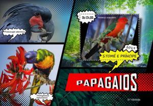 SAO TOME - 2019 - Parrots - Perf Souv Sheet - MNH