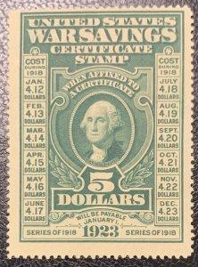 #WS2 – Mint NH light Gum 1917 $5 War Savings stamp, dark green, unwatermarked