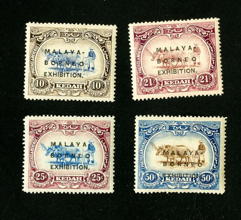 Kedah Stamps # 3a-16b VF OG LH Set of 4 Scott Value $150.00