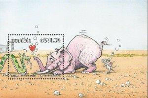Namibia - 2000 Yoka the Snake Cartoon in Etosha - Souvenir Sheet - Scott #977