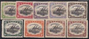 PNG953) Papua 1910-11 Lakatoi large 'Papua' watermark sideways perf 12½ set ½d t