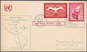 USA UN FRANKING 1963 first flight postcard NY to Buenos Aires Argentina.....7179