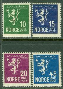 EDW1949SELL : NORWAY 1925 Scott #111-14 Complete set. VF, Mint NH. Catalog $100.