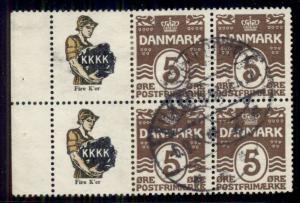 DENMARK (RE32) 5ore brown Complete pane 6 K.K.K.K. used