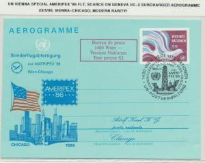 UN VIENNA1986 SPECIAL AMERIPEX FLIGHT AEROGRAMME, SCARCE ON GENEVA UC-2 SURCHARG