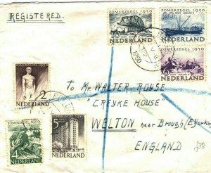 NETHERLANDS Cover Breda Registered GB Yorks 1950 {samwells-covers}SQ8