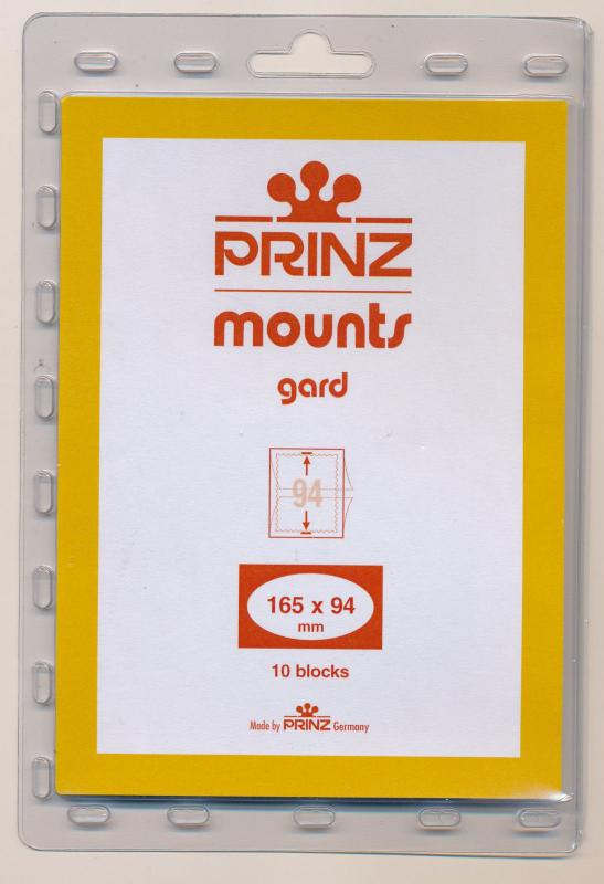 Prinz Scott Stamp Mounts Size 165/94 BLACK Background Pack of 10