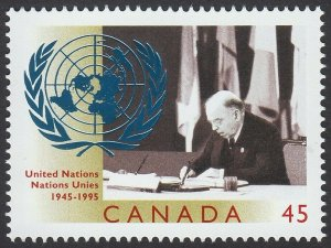 UNITED NATIONS 50th= UN EMBLEM FOIL Stamping =single stamp Canada 1995 #1584 MNH