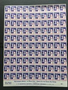 1956 Easter Seals Crippled Children Label, Cinderella Stamp Full Sheet of 100