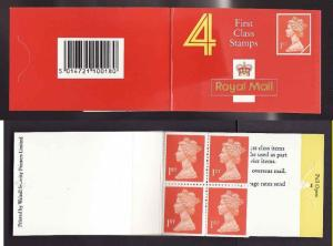Great Britain BK997- four 1st class stamps-complete NH booklet-