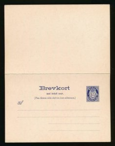 NORWAY Mi. P62 POSTAL STATIONERY POSTAL CARD 15+15 PD REPLY