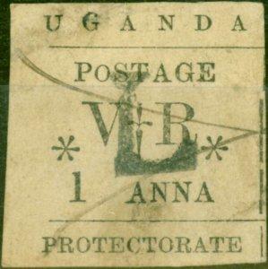 Uganda 1896 1a Black SG70a Small O in Postage Good Used Contemporary Pen Canc...