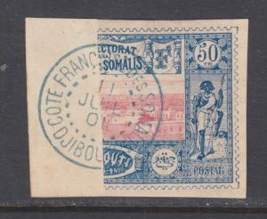 Somali Coast Sc 16a bisect used on small piece, blue DJIBOUTI 11 JUIL 01 CDS