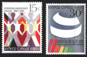 Cyprus. 1989. 720-21. 100th anniversary of the inter-parliamentary union. MNH.