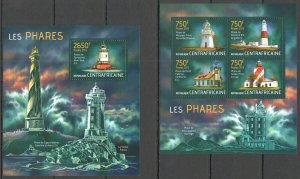 CA713 2013 CENTRAL AFRICA MARINE LIFE ARCHITECTURE LIGHTHOUSES PHARES KB+BL MNH