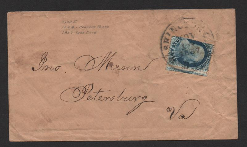 $US Sc#20 Pos 13L2 cracked plate on cover, PF Cert., RARE, Cv. $1475