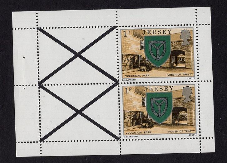 Jersey  #138a  1976  MNH 1p arms    pane of 2 and 2 labels