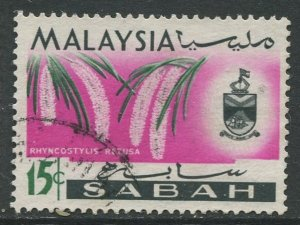 STAMP STATION PERTH Sabah #22 Orchid Type and state Crest Used 1965
