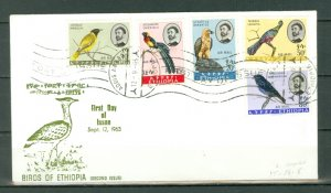ETHIOPIA 1963  BIRDS #C77-81...SET on FDC