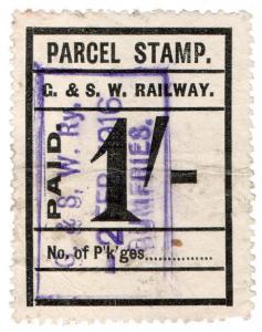 (I.B) Glasgow & South Western Railway : Parcel Stamp 1/- (Dumfries)