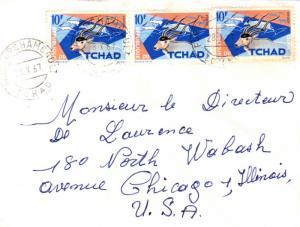 Chad 10F Addax (3) 1967 Fort-Archambault, Tchad to Chicago, Ill.  Corner bit ...
