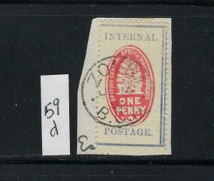 BRITISH CENTRAL AFRICA SCOTT #59D 1898 INTERNAL POSTAGE - USED (ON PAPER)