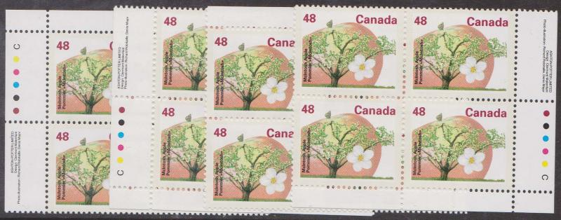Canada USC #1363 Mint VF-NH Matched Set of 48c Apple Imprint Blocks