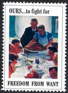 Patriotic WW2 Poster Stamp - Freedom From Want - Cinderella