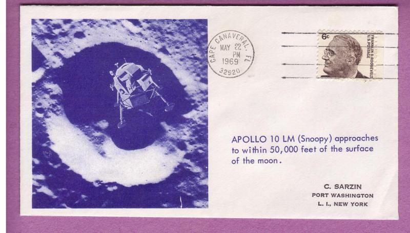 Space Event - Apollo 10 - LEM Approaches Moon - 5/22/1969