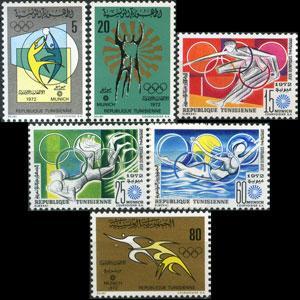 TUNISIA 1972 - Scott# 579-84 Olympics Set of 6 LH