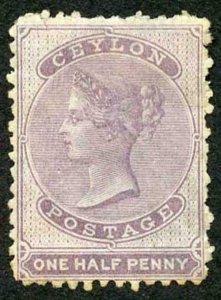 Ceylon SG48 1/2d Dull Mauve Wmk Crown CC M/M
