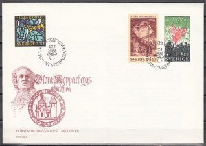 Sweden, Scott cat. 1691-1693. Theater, Mining, Stained Glass. First day cover. ^