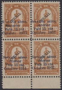 HONDURAS 1931 AIRPOST Sc Unlisted Sanabria 81 BLOCKx4 S vicio +I931 + I93I