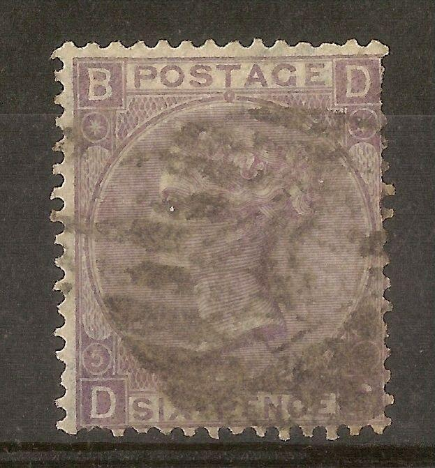 GB 1865 6d Lilac SG97 Pl. 5 Used Cat£110