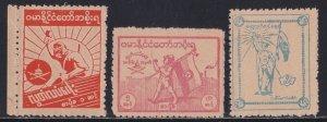 Burma # 2N38a-40a, Perf 11, Japanese Occupation, NH, 1/2 Cat.